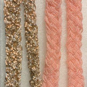 2 Braided Seed Bead bib necklaces.